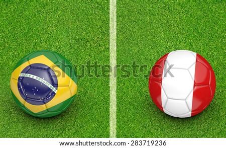 2015 Copa America football tournament, teams Brazil vs Peru - stock photo
