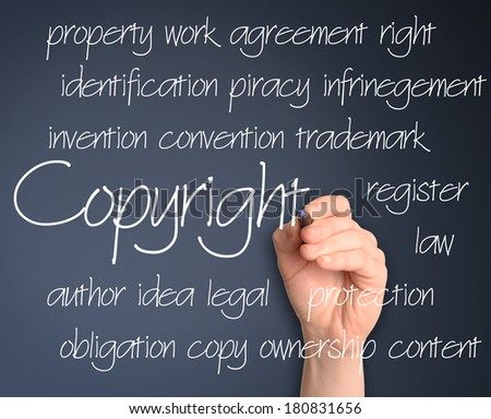 copyright concept on blackboard - stock photo