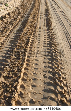 corrugations mud dirt road, Australia.