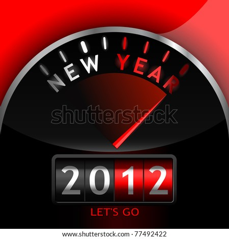 2012 counter on the dashboard - stock photo