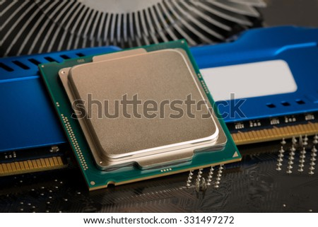 cpu,processor,microchip,CPU socket on motherboard rear a new generation RAM. - stock photo