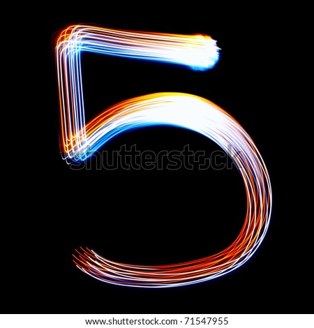 5 - Created by light colorful digits over black background - stock photo