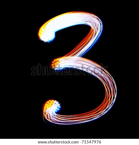 3 - Created by light colorful digits over black background - stock photo