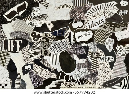 Creative atmosphere art mood board collage sheet in color idea black and white made of teared