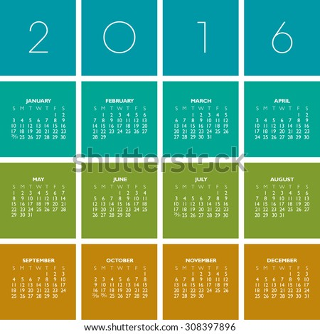 2016 Creative Colorful Calendar in multiple colors - stock photo