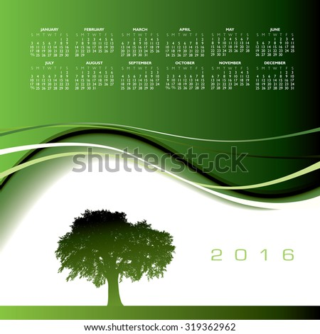 2016 Creative tree calendar for print or web  - stock photo