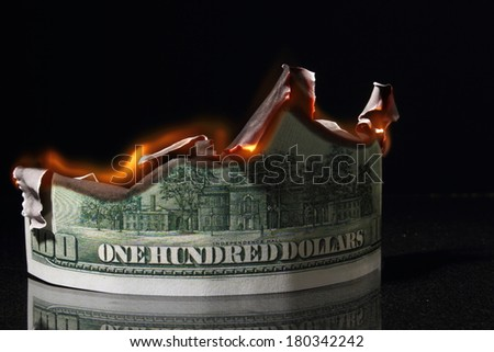 crisis, hundred dollars in fire, burning dollar, ashes - stock photo