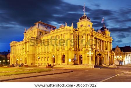 Croatian National Theate at night - Zagreb - stock photo