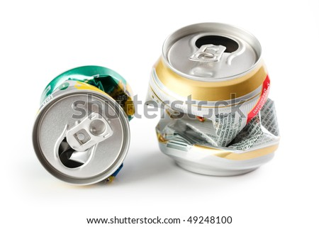 crushed beer can - stock photo