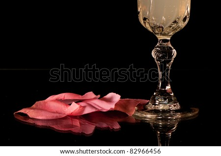 crystal glass and petals