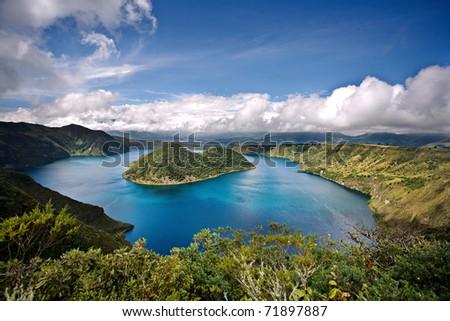 Cuicocha caldera and lake in Ecuador South America - stock photo
