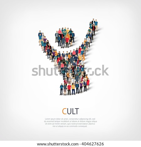 cult  people crowd - stock photo