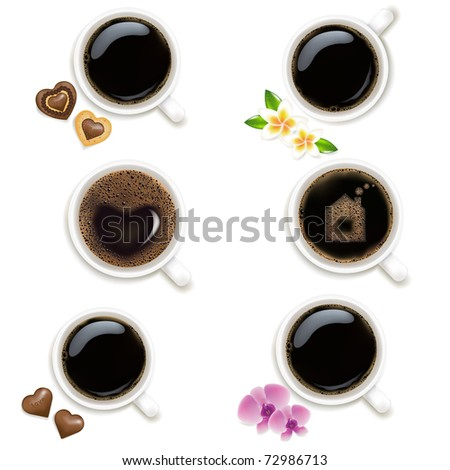 6 Cups From Coffee, Isolated On Vintage Background