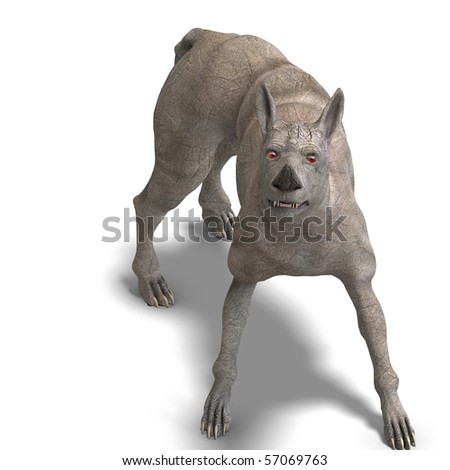 curious alien dog with rhino skin and horn. 3D rendering with clipping path and shadow over white - stock photo