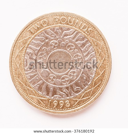 Currency of the United Kingdom 2 Pounds coin vintage