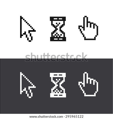cursors set isolated on white and black background. Arrow, clock, hand.