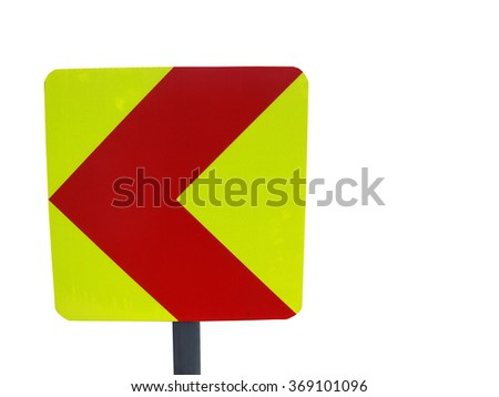 Curve warning sign on the road.                       - stock photo