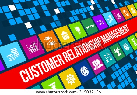 Customer relationship managment concept image with business icons and copyspace. - stock photo