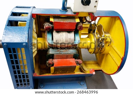 cut way synchronous motor on isolated background                               - stock photo