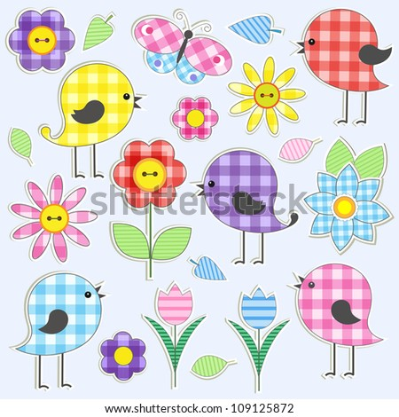 Cute birds and flowers.  Raster version - stock photo