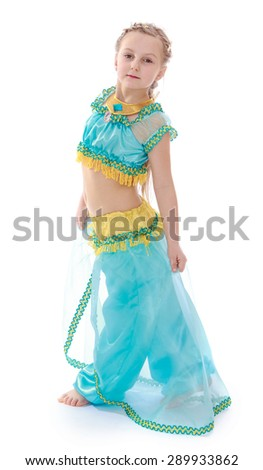 Cute girl in Eastern dress- isolated on white background - stock photo