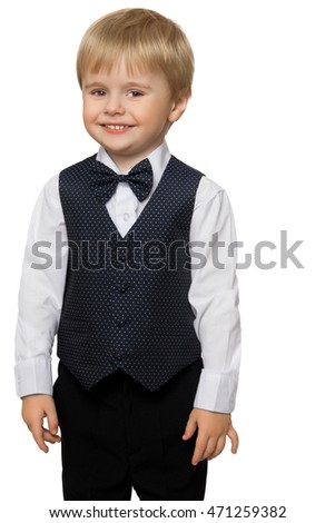 Cute little boy in white shirt, vest and tie ,smiling- Isolated on white background