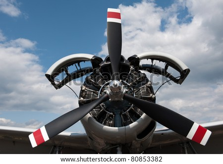 9 cylinder Radial Engine engine and propeller of historical airplane - stock photo