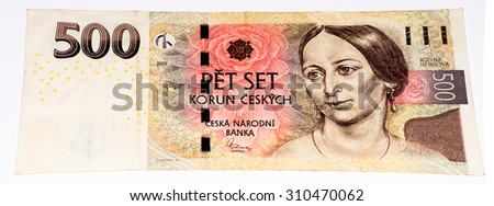 500 Czech crowns bank note. Crown is the national currency of Czech Republic - stock photo
