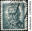 CZECHOSLOVAKIA - CIRCA 1945: A stamp printed in the Czechoslovakia, shows the first president of Czechoslovakia, Thomas Masaryk, circa 1945 - stock photo