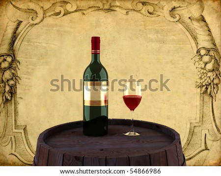 3D a bottle of red wine with a glass - stock photo