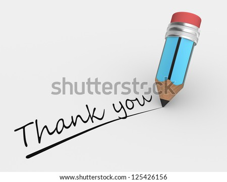 3d a pencil and text Thank you - stock photo