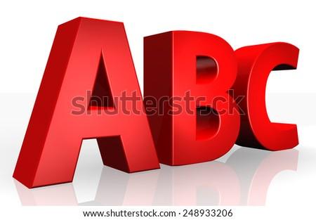 3D abc text on white background - stock photo