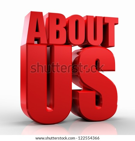 3D About Us text on white background - stock photo