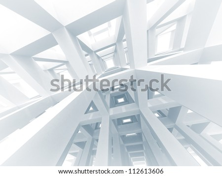 3d abstract architecture background. Internal space of a modern white braced construction - stock photo