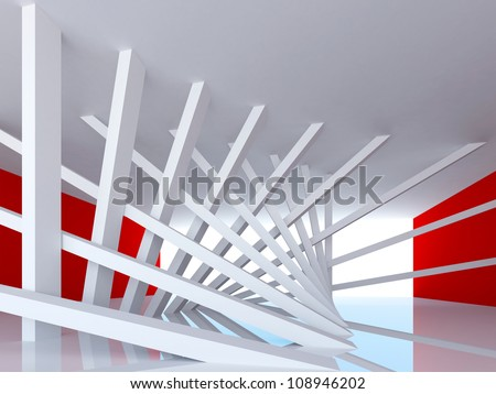 3d abstract Architecture background. Room Interior with tilted columns and glowing end