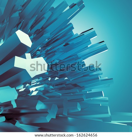 3d abstract arctic crystals, blue ice shapes - stock photo