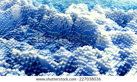 3D abstract background - rendered landscapes - stock photo