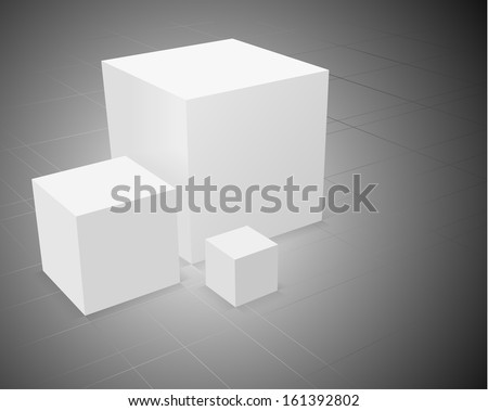 3d abstract background, three white cube on grey background with grid - stock photo
