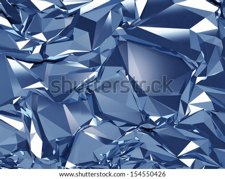 3d abstract blue crystal glass background texture - stock photo