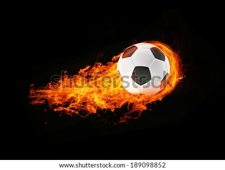 3d abstract burning soccer football background illustration - stock photo