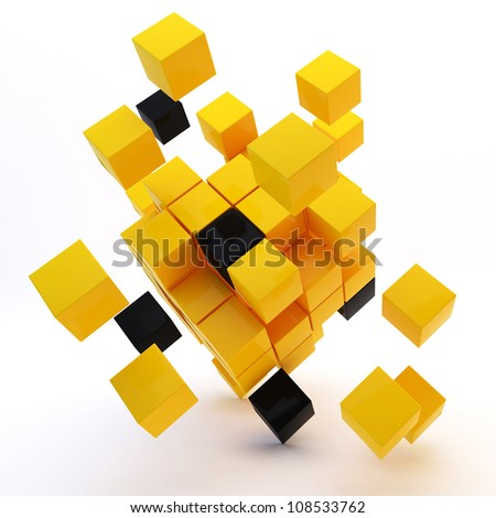 3d abstract colored cubes - stock photo
