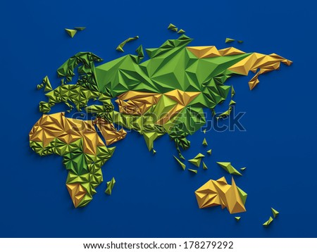 3d abstract colorful faceted map, global geographic background, Eurasia Australia and Africa  - stock photo