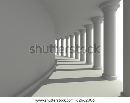 3D abstract corridor with columns