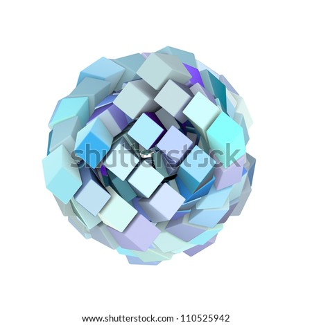 3d abstract cube ball shape in blue purple