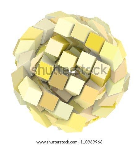 3d abstract cube ball shape in white yellow on white - stock photo