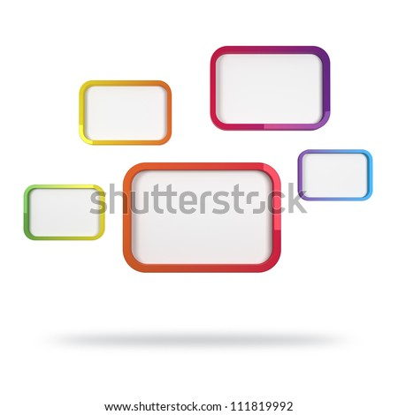 3d abstract design with colorful rectangles on white background - stock photo