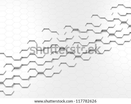 3d abstract design with hexagons - stock photo