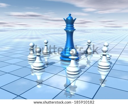 3d abstract dimensional background with chess pieces team and blue chess queen, strategy, teamwork, planning concept - stock photo