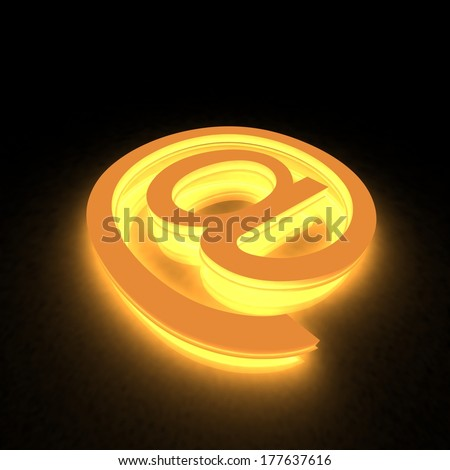 3D abstract E-mail symbol in the neon light
