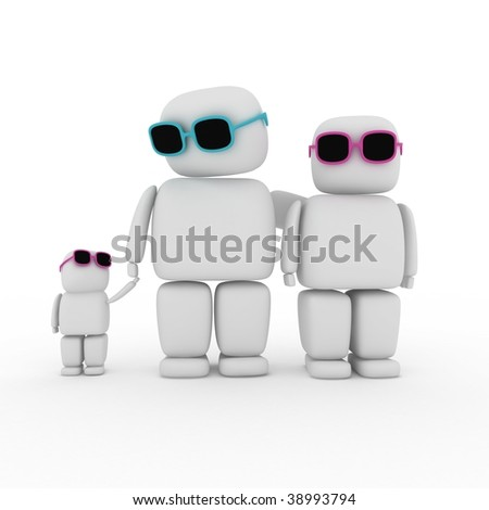 3d abstract family with daughter - stock photo
